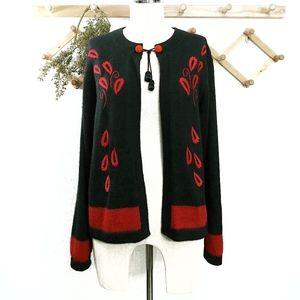 Vintage 100% Alpaca Sweater Cardigan Red Medium